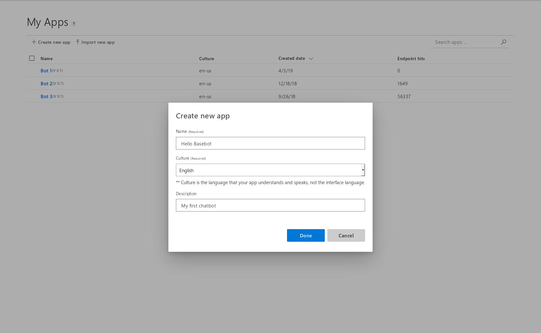 Creating a LUIS app